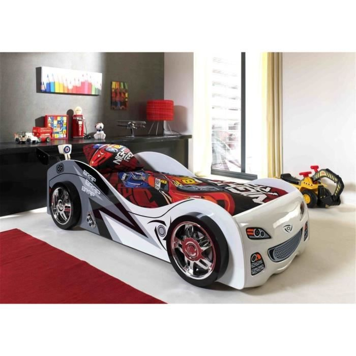 FUN Lit voiture enfant style junior blanc - l 90 x L 200 cm