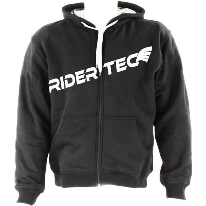 rider tec sweat avec protection kevlar capuche noir mixte achat vente blouson veste. Black Bedroom Furniture Sets. Home Design Ideas