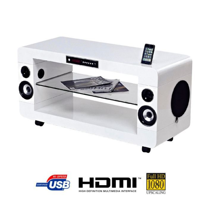 soundvision sv200w meuble home cin ma 2 1 blanc meuble hifi int gr e avis et prix pas cher. Black Bedroom Furniture Sets. Home Design Ideas