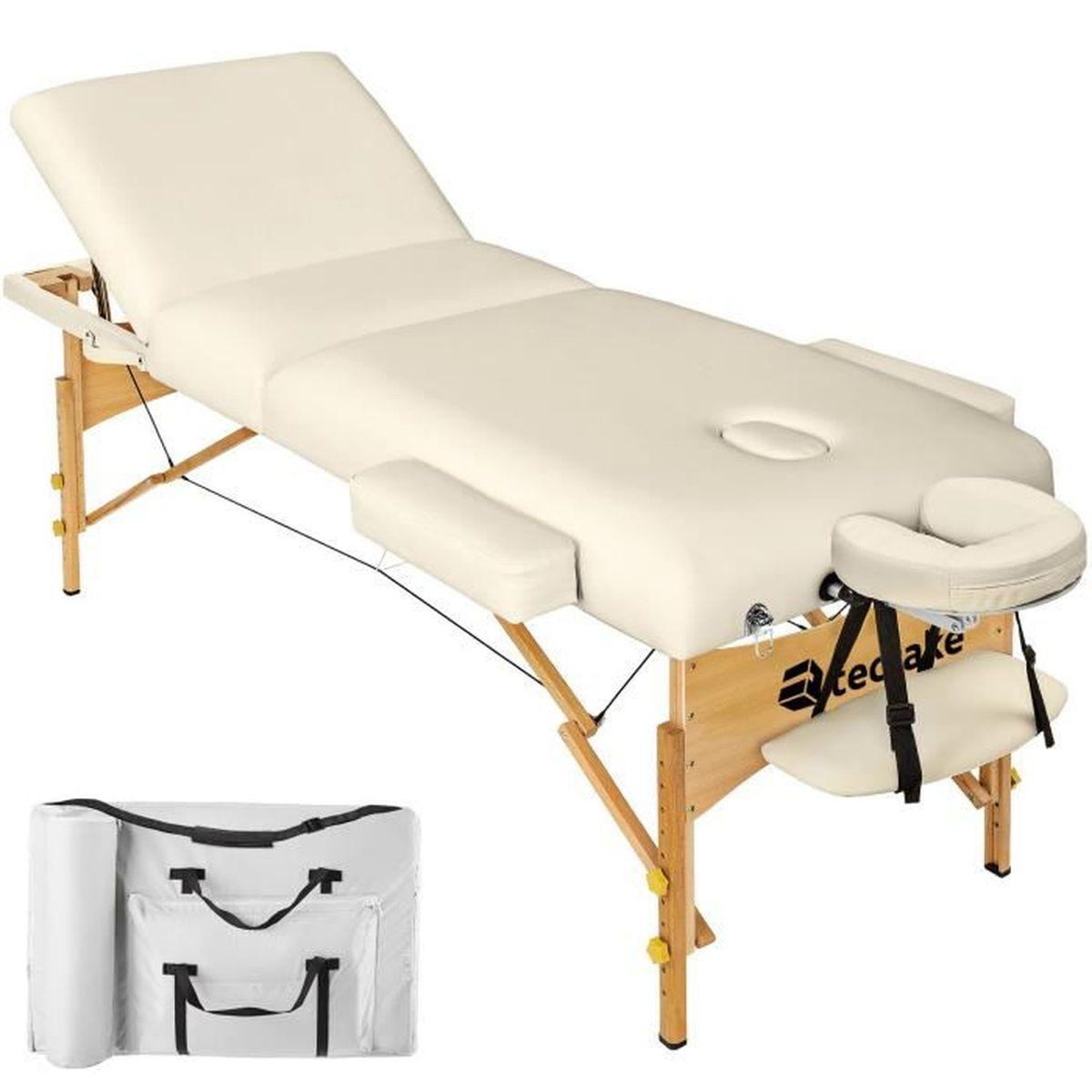 Table de massage TECTAKE Table de Massage Pliante 3 Zones Beige + H
