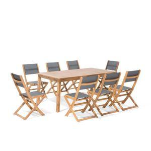 Salon de jardin en bois d\'acacia FSC extensible 6-8 places ...