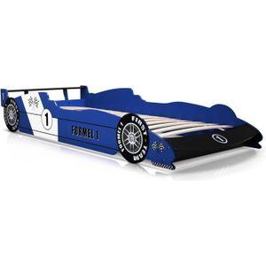 STRUCTURE DE LIT Lit enfant voiture Formule 1 Bleu 90 x 200 cm Somm