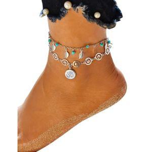 CHAINE DE CHEVILLE bracelet de cheville femmes multicouche