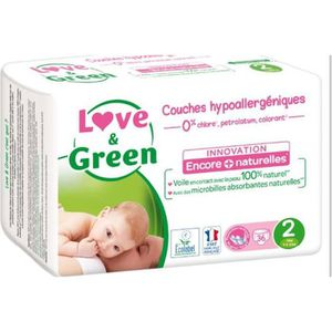 COUCHE LOVE AND GREEN Couches ecolabellisées Taille 2 - 3