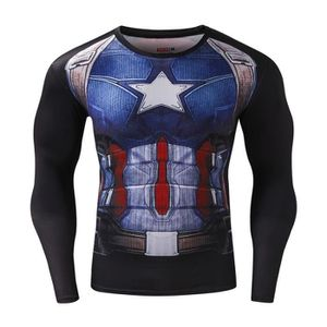 SWEATSHIRT Homme t-shirt Compression Manches Longues Captain