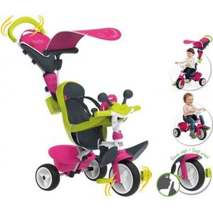 POUSSETTE  SMOBY Tricycle Baby Driver Confort Evolutif Rose