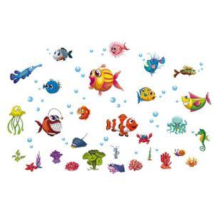 /Étanche Et Amovible Autocollants Poissons Stickers Mural Mer Kibi Stickers Muraux Sous-Marine WorldFish Enfants D/écoratifs Stickers Muraux Enfants Poisson Stickers Animaux De La Mer