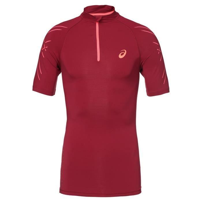 ASICS Inner Muscle Tee shirt - Demi zip Homme - Rouge