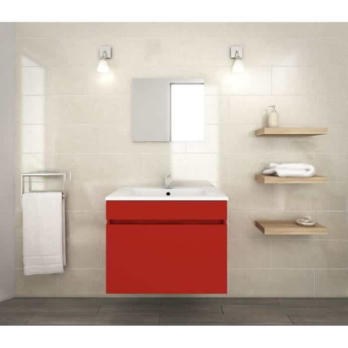 luna ensemble de meubles de salle de bain vasque miroir meuble sous vasque 60 cm rouge. Black Bedroom Furniture Sets. Home Design Ideas