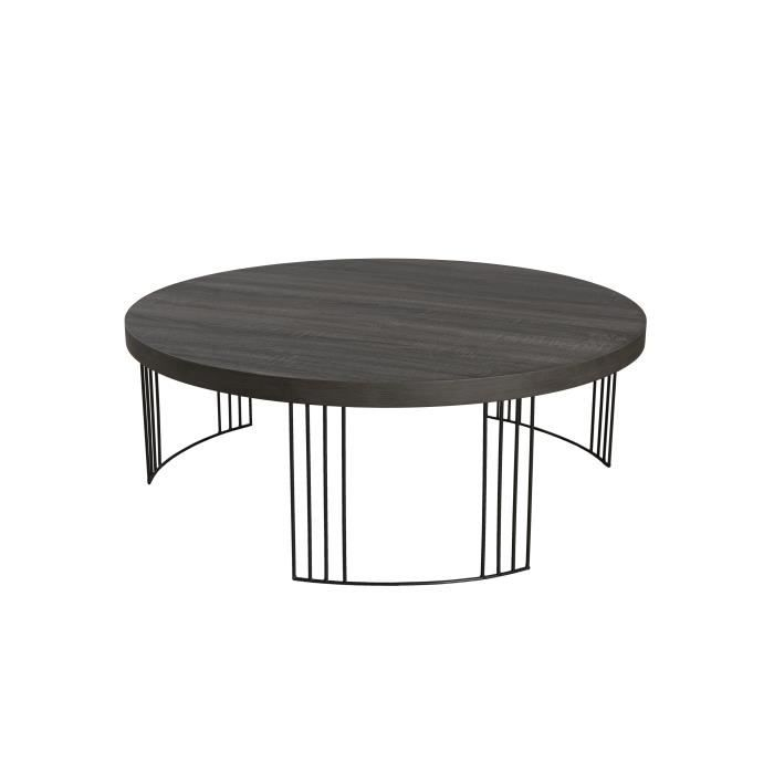 Melbourne table basse ronde scandinave en mdf placage for 2 table basse ronde