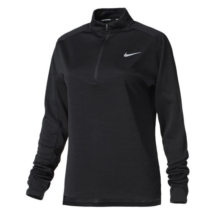 NIKE T-Shirt de running manches longues W NK PACER TOP HZ Femme Noir