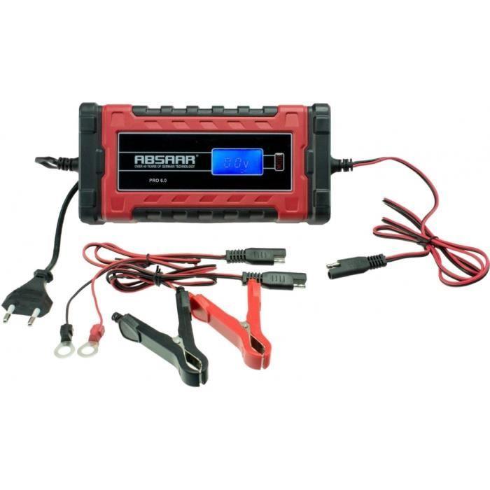 Absaar pRO 6.0 (12/24V - 6A) chargeur de batterie 0-120/180Ah rouge/noir