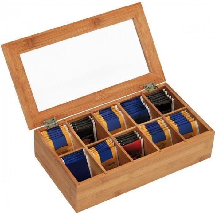 Boites corbeilles et paniers - Boîte à thé en bambou - 10 compartiments 9 cm (fermée)