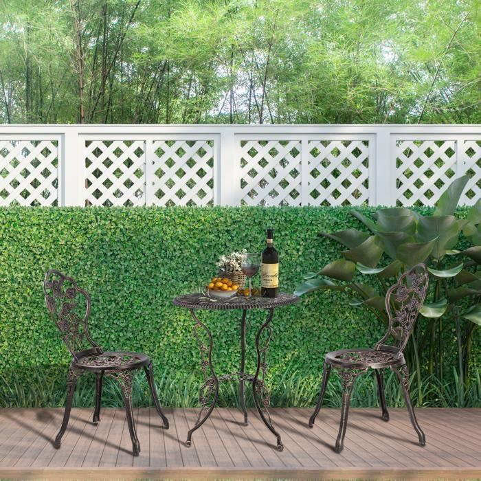 Ensemble Table de Balcon Bistro pour Jardin 3 Pièces Table de Terrasse Table de Jardin en Fer Aluminium Ø60 x 68cm Bronzé