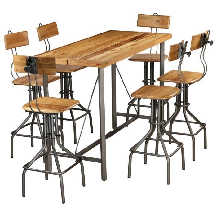 Tidyard Ensemble de Bar 7 pcs - Table de Bar avec Chaises - Table de Cuisine Bois de Teck Recyclé Massif