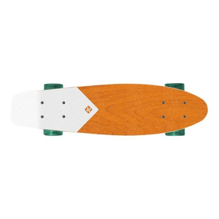 StreetSurfing WOOD BEACH BOARD Skateboard mini-cruiser 63.5 cm x 16 cm orange, transparent green wheels