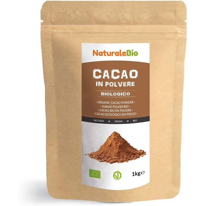 Poudre de Cacao Bio 1 Kg. Organic Cacao Powder. 100% Naturel et Pur à partir de Fèves de Cacao Crues. Produit au Pérou par la Plante