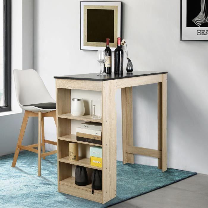Table Bar Noir + Chêne ,avec Rangements, Mange-Debout Table Haute de Cuisine
