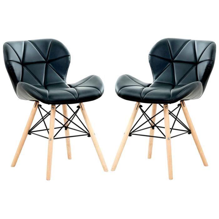 CECILIA EIFFEL - Lot de 2 Chaises design en Simili Cuir Noires - Inspiration Scandinave - Salle à Manger, Salon, Bureau ou Cuisine