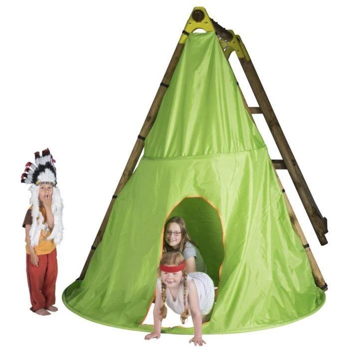 Tentes et tunnels d'activites TRIGANO Tente de jeu Tipi pour balancoire en bois 2,3 m J-JOU058