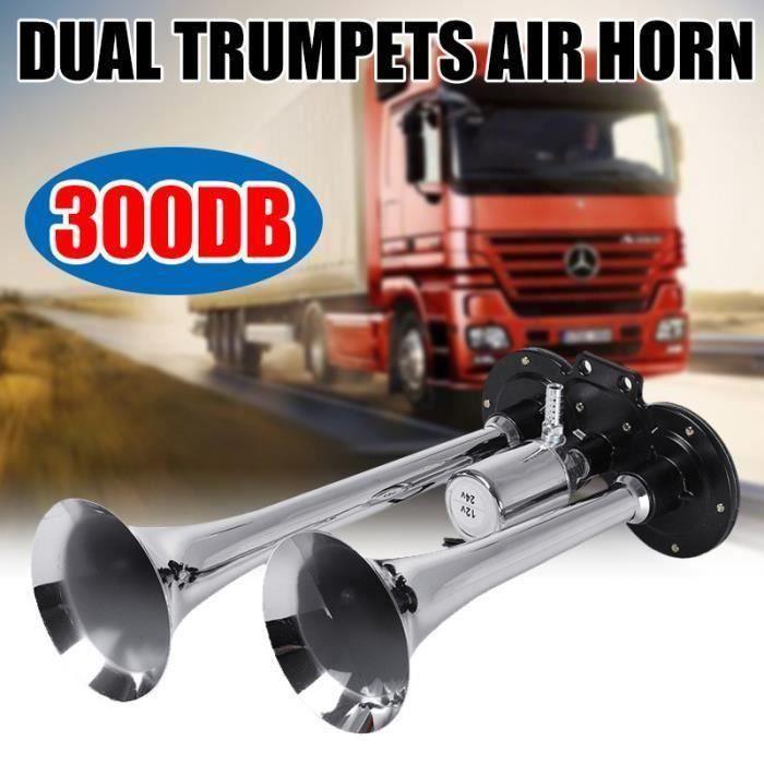 300DB 12V 24V Double trompette à air klaxon chromé voiture camion rv train bateau argent