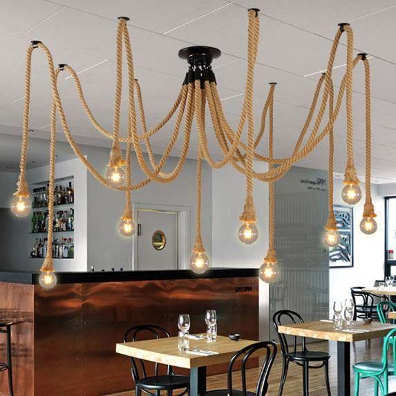 10 Tête Lustre Suspension Araignee Industrielle Lampe Corde de Chanvre Plafonnier Luminaire pour Restaurant Hôtel