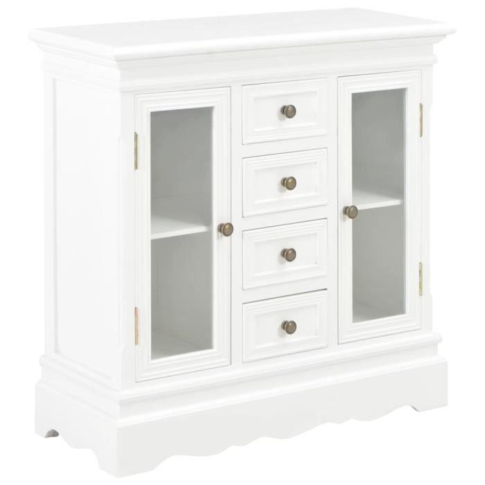 Design Moderne Buffet Blanc 70 x 28 x 70 cm Bois de pin massif Haut de gamme &530252