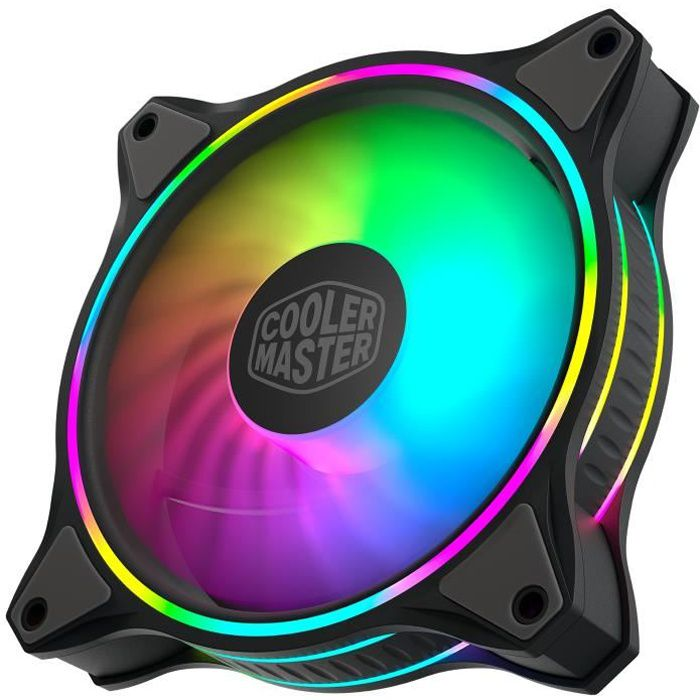 COOLER MASTER MasterFan MF120 Halo ARGB Ventilateur de boîtier PWM - 650-1800 RPM - 1x 120mm (MFL-B2DN-18NPA-R1)