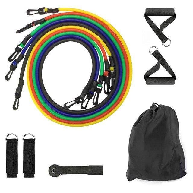 11 pièces bandes de résistance de Tube de bande de Yoga ensemble Fitness élastique élastique - Modèle: 11pcs set - HSJSTLDB04722