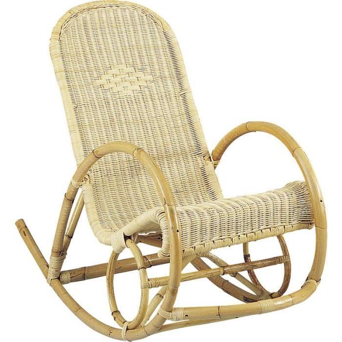 Rocking-chair en rotin coloris naturelle