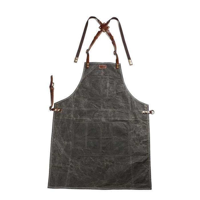 A015 tablier en cuir et cire d'huile Tablier à outils, toile de cire d'huile, tabliers de - Vert armée-Une dimension