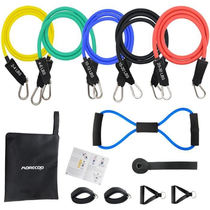 MORECOO Kit Fitness Bande d'Exercice Musculation Latex 12 PCS, Elastique Musculation Résistance Bande Expander pour Homme et Femme,