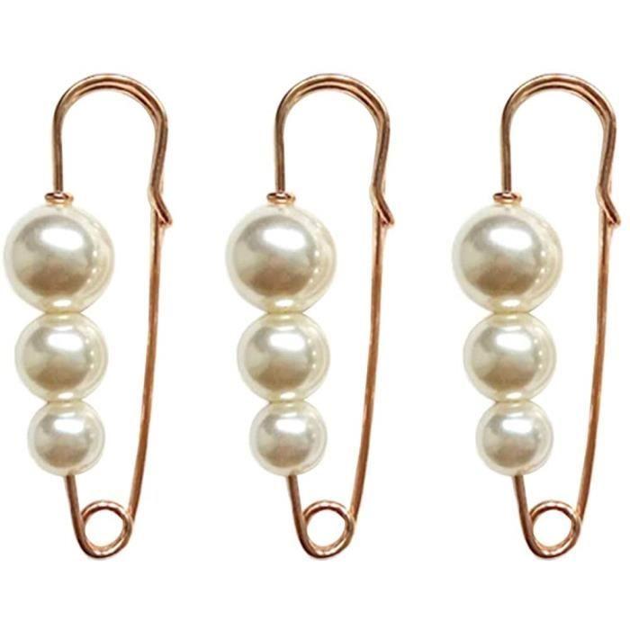 Perle Broche Ensemble Chandail Clips épingles de sûreté perlé châle Clips Bijoux (Blanc nacré) 3pcs[877]