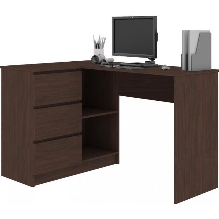SUNDAR - Bureau informatique d'angle moderne 124x85x77 - 3 tiroirs + 2 grandes niches - Table ordinateur multi-rangements - Wenge