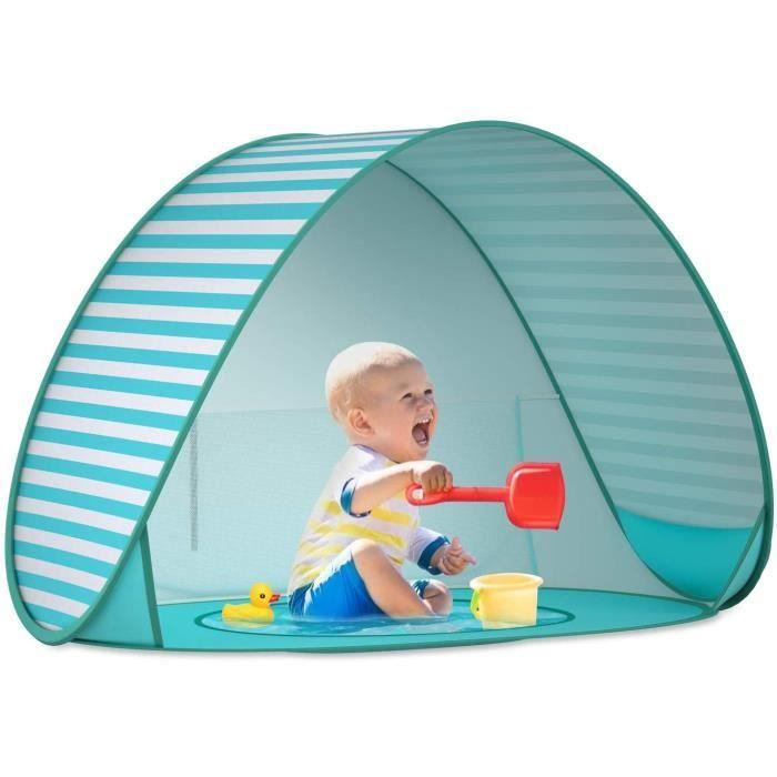 Tente Anti UV UPF 50+ Bébé Plage, Enfant Pop Up Tente avec Mini Piscine et Auvent, Abris de Plage Ventilée Tente Enfant, Rayure Bleu