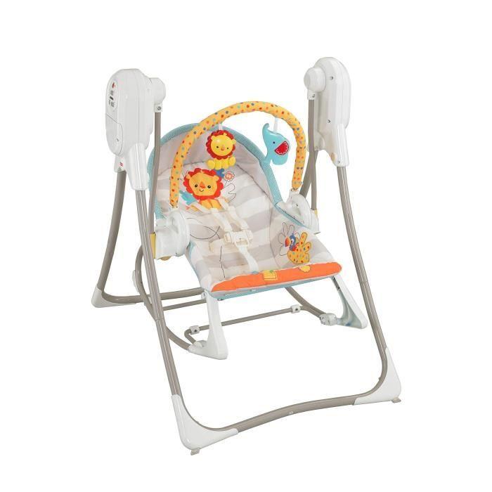 Fisher-Price Balancelle évolutive 3-en-1 transat bébé avec vibrations appaisantes et siège à bascule jeune enfant, chansons et