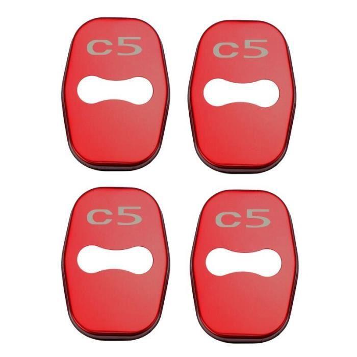 Décoration Véhicule,Housse de serrure de porte de voiture, 4 pièces, en acier inoxydable, accessoire pour citroën - Type for C5 red