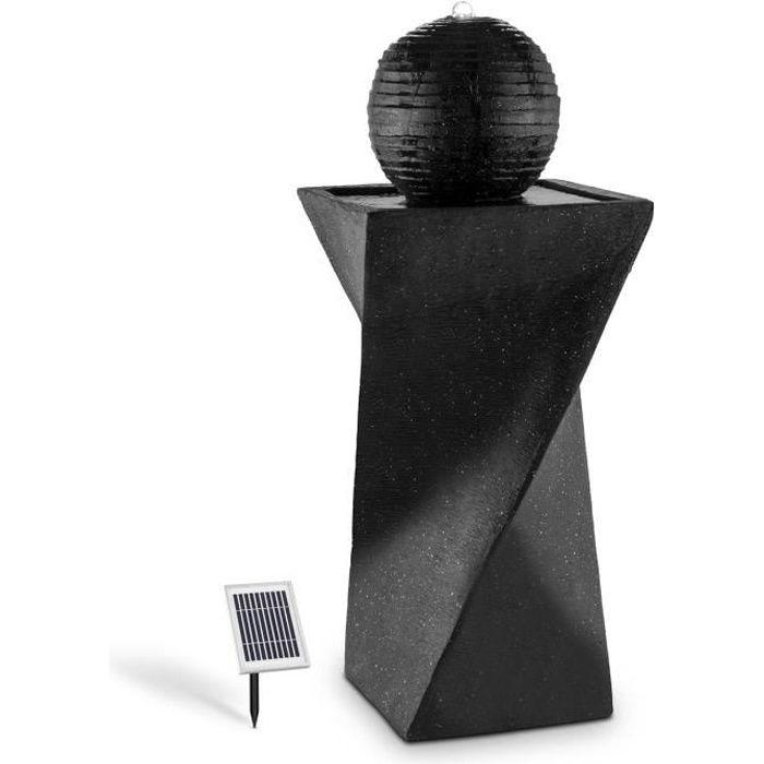 Blumfeldt Fontaine solaire (socle basalte, lumière LED à énergie solaire, batterie, panneau 2W, surface photovoltaïque 300cm²)