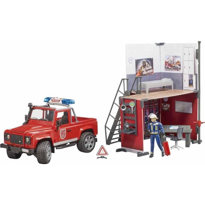 Caserne de Pompier avec LAND ROVER et accessoires