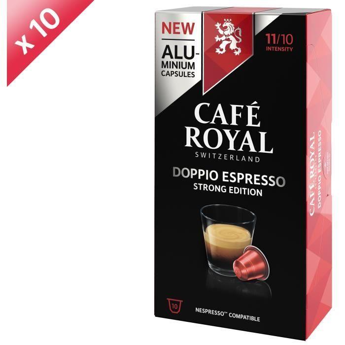 [LOT DE 10] CAFE ROYAL Café Espresso Doppio - Compatible Nespresso aluminium - 10 capsules