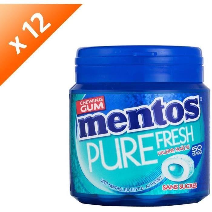 [LOT DE 12] MENTOS GUM PURE FRESH Bottle de 50 dragées sans sucres - Menthol eucalyptus