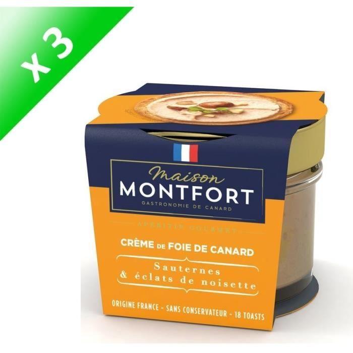[LOT DE 3] MAISON MONTFORT Crème de Foie de canard - Recette au sauternes - 90 g