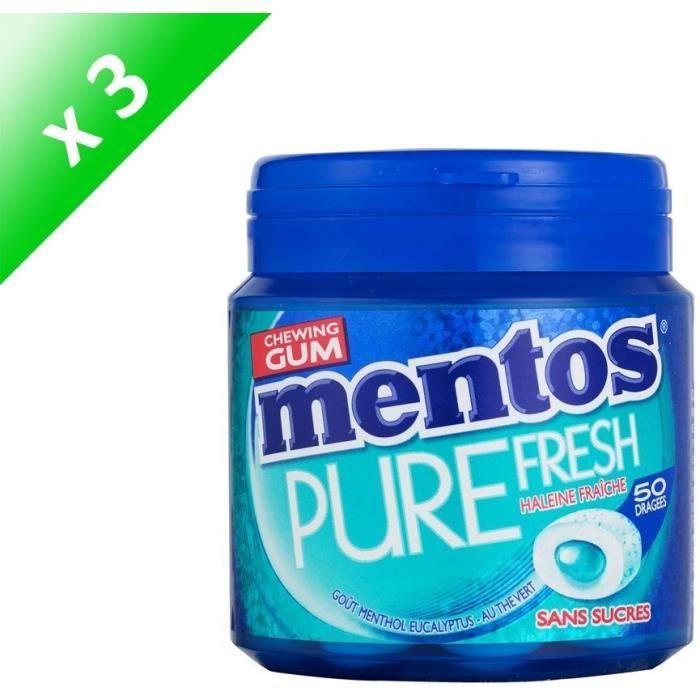 [LOT DE 3] MENTOS GUM PURE FRESH Bottle de 50 dragées sans sucres - Menthol eucalyptus