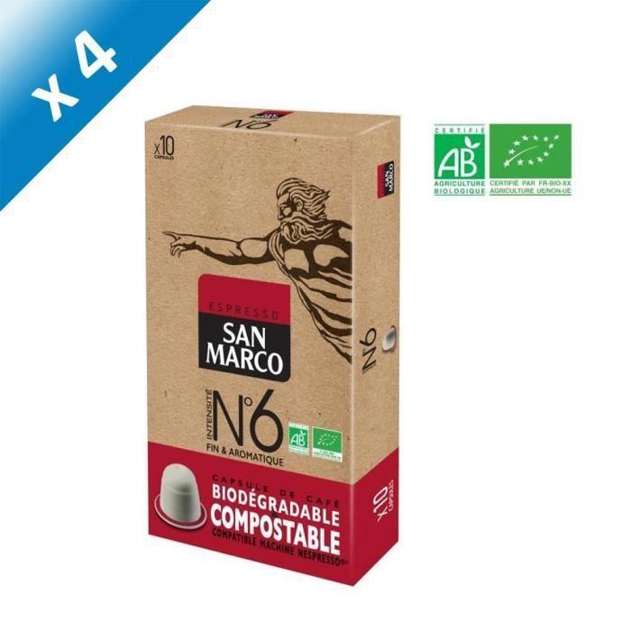 [LOT DE 4] SAN MARCO Café Espresso N°6 Compatible Nespresso Bio & Compostable - 10 capsules