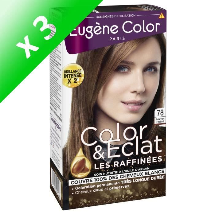 EUGENE COLOR Crème colorante permanente Les Raffinées N°78 - Marron Praliné (Lot de 3)