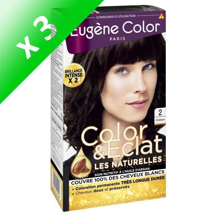 EUGENE COLOR Crème Colorante permanente N2 Chatain (Lot de 3)