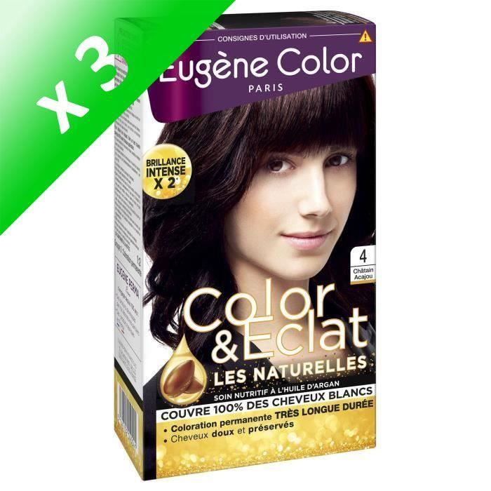 EUGENE COLOR Crème Colorante permanente N4 Chatain Acajou (Lot de 3)