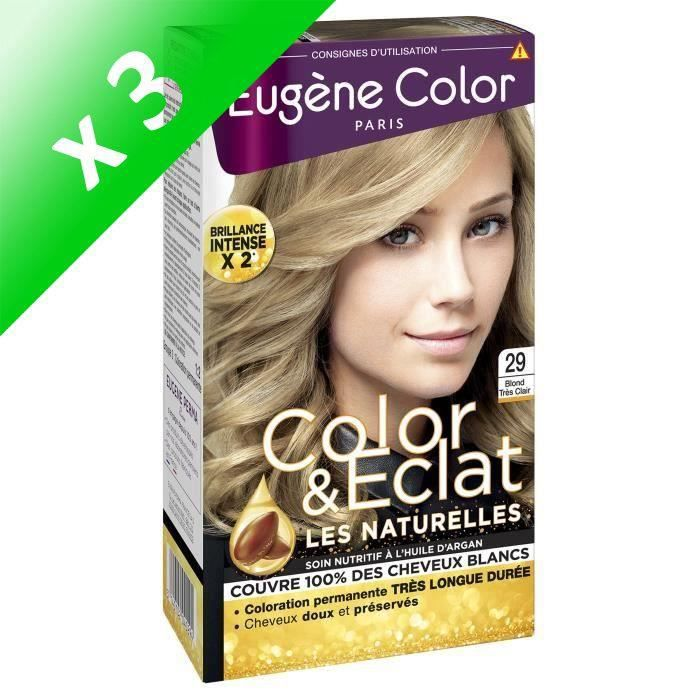 EUGENE COLOR Crème Colorante permanente 29 Blond très clair (Lot de 3)