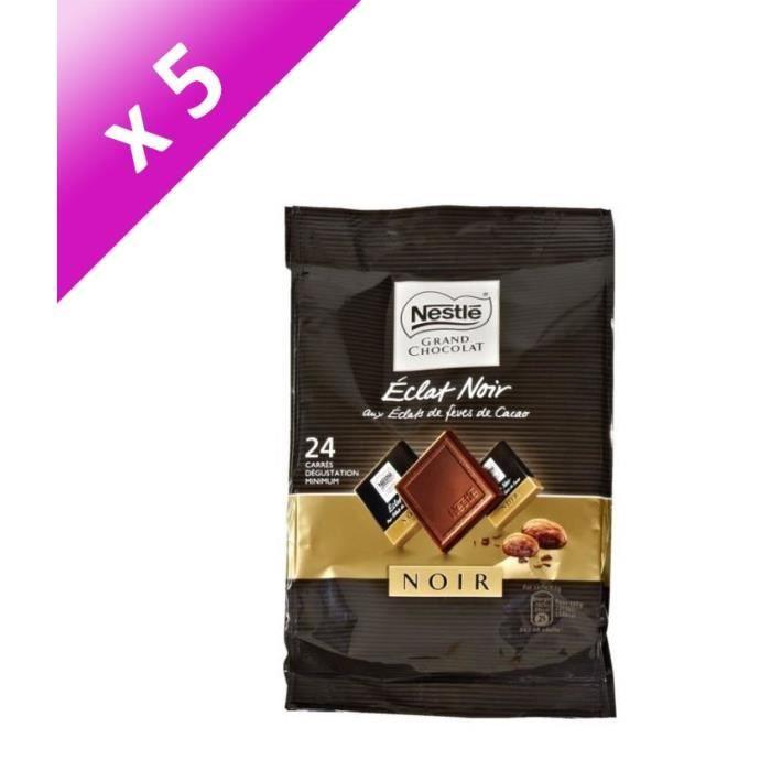 [LOT DE 5] NESTLE Mini chocolat Eclat Noir aux éclats de fèves de cacao - 192 g