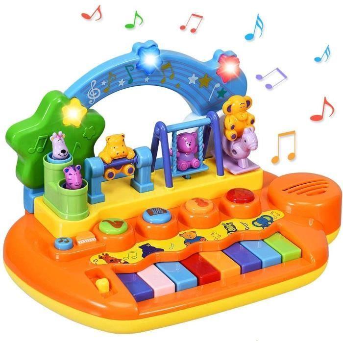 COSTWAY Clavier Musical Bébé Jouet avec Lumière et Animeaux Multicolore Instrument de Musique Jouets d'Eveil pour Tout Petits Piano